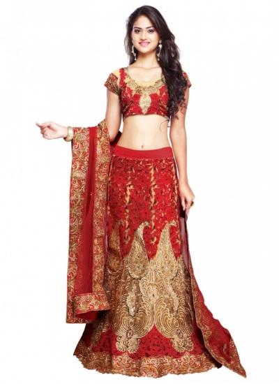 Art Silk Lace Red Bridal Lehenga choli