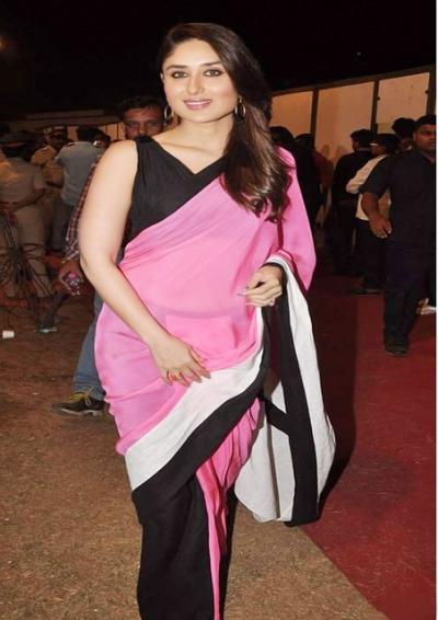 kareena kapoor pink and black half-half  saree