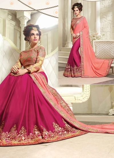 Praiseworthy Baby Pink Silk Georgette Saree
