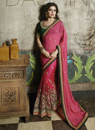 Superb Pink Georgette On Net Saree