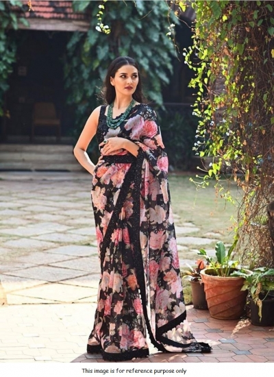 Bollywood Black georgette digit print saree