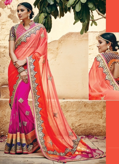 Nailing Georgette On Net Multi Color Saree