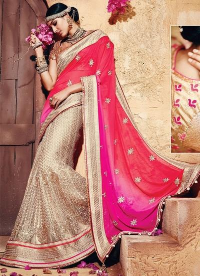 Genuine Multi Colors Georgette On Net Sarees