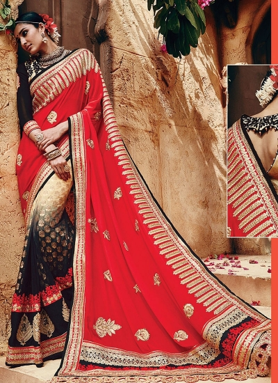 Gleeful Multi Color Georgette On Net Saree