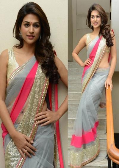 Shraddha das grey and pink saree  saree