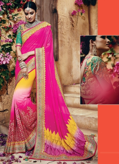 Famed Multi Colored Georgettes Sarees
