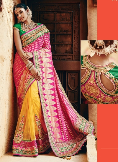 Circean Magenta Georgette On Net Wedding Wear Saree