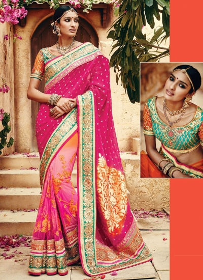 Garish Magenta Georgette Saree