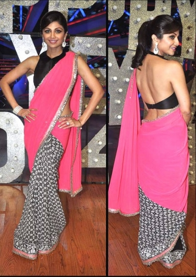 aa7ab5afc9 Bollywood Style Shilpa Shetty Chiffon Saree in Pink and Black color