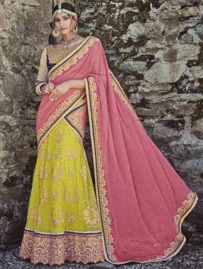 Pink and lime green designer wedding lehenga