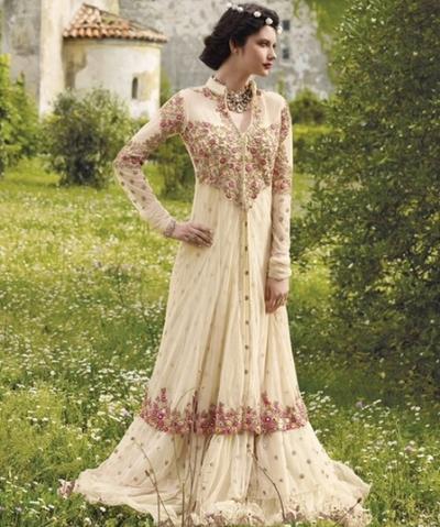 Cream floor length wedding gown