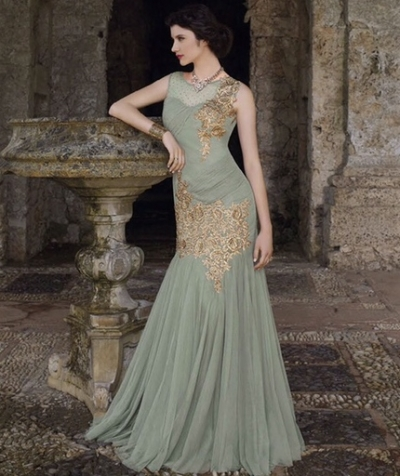 Sage green georgette and net wedding gown