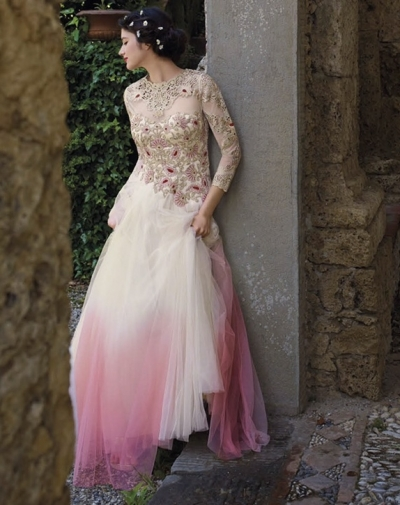 White and pink shaded Wedding gown