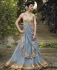 Misty Grey  Net and Georgette Wedding gown