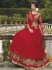 Red net and georgette Wedding gown