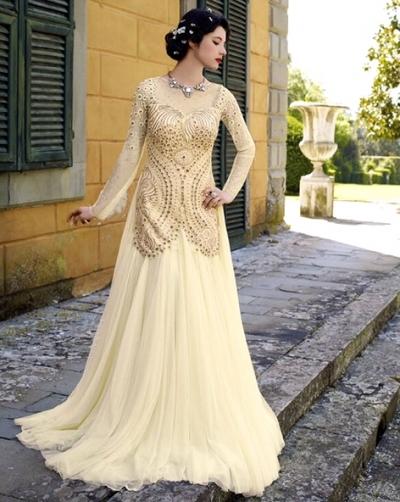 Off white designer net wedding gown