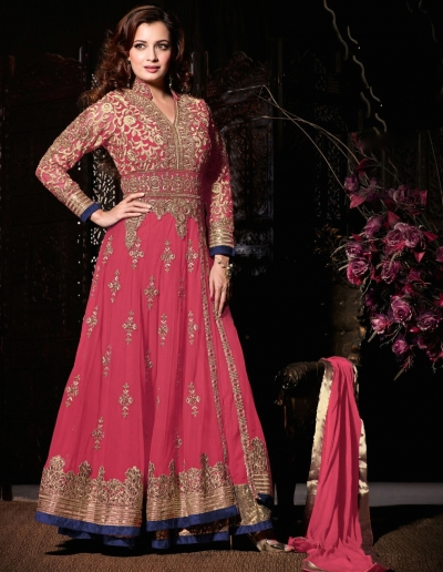 Dia mirza pink wedding wear anarkali