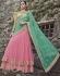 Pink and turquoise designer wedding lehenga