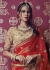 Beige and red designer wedding lehenga
