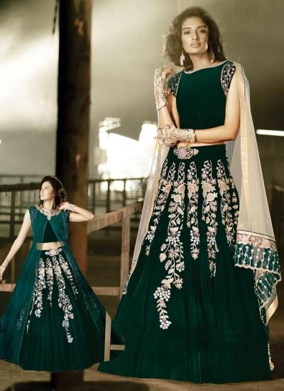 02ac65aaa9 Buy Sweet Green Velvet Designer Anarkali Suit in UK, USA and Canada