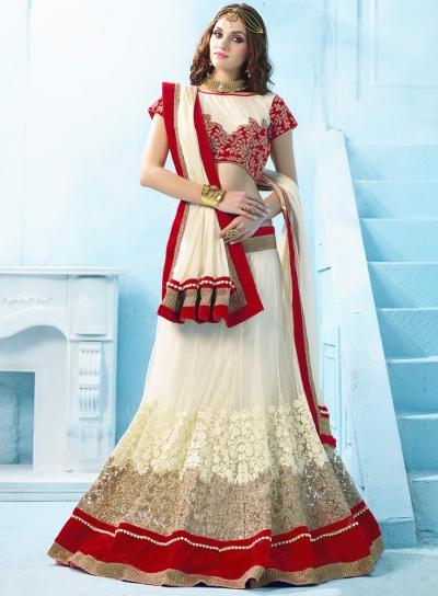 Off white net lycra designer wedding lehenga