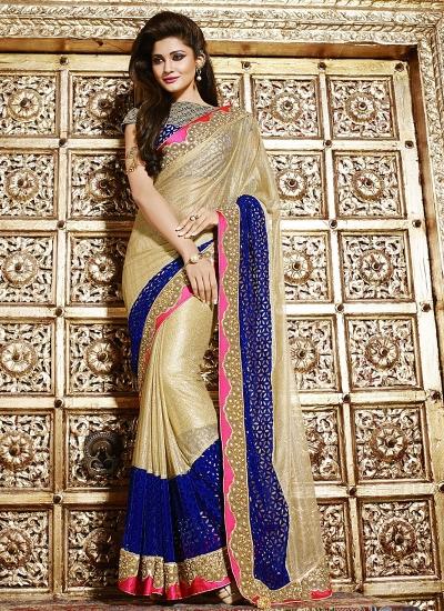 Sincere cream art silk on net wedding Saree