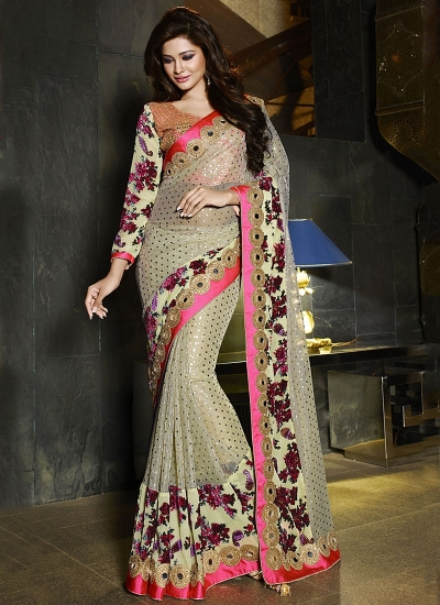 Colourful Light Grey Fancy Net wedding Saree