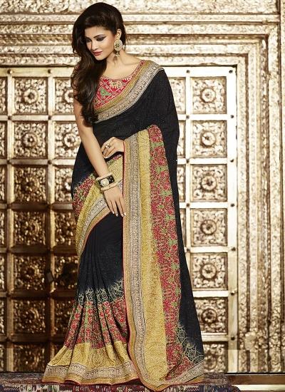 Genuine black georgette wedding saree