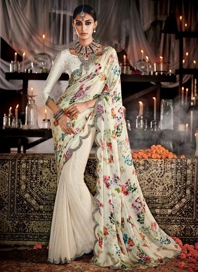 Haute Cream Print Work Designer Saree