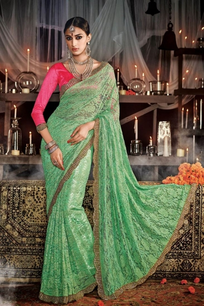 Hypnotizing Sea Green Embroidered Work Net Designer Saree