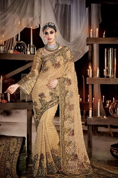 Prepossessing Embroidered Work Designer Saree