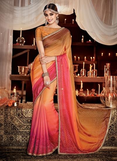 Remarkable Satin Embroidered Work Designer Saree