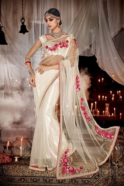 Ravishing Net Off White Designer Saree