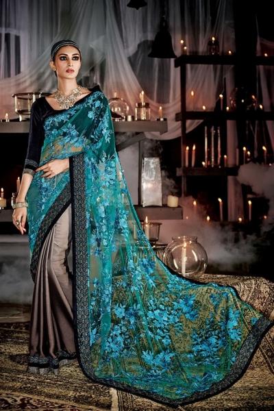 Prepossessing Net Multi Colour Designer Saree