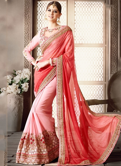Topnotch Red Shine Paper Silk On Georgette Saree