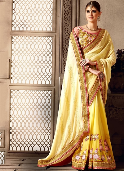 Miraculous Beige Paper Silk On Georgette Saree