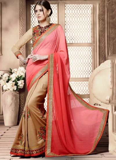 Perfervid Hot Pink Paper Silk Wrinkle Georgette Saree