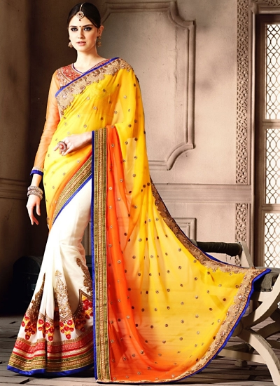Bedazzling Multi Color Georgette Designer Saree