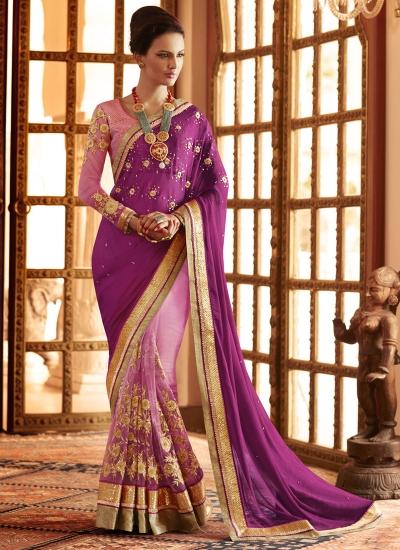 Lavish Purple Net Designer Saree