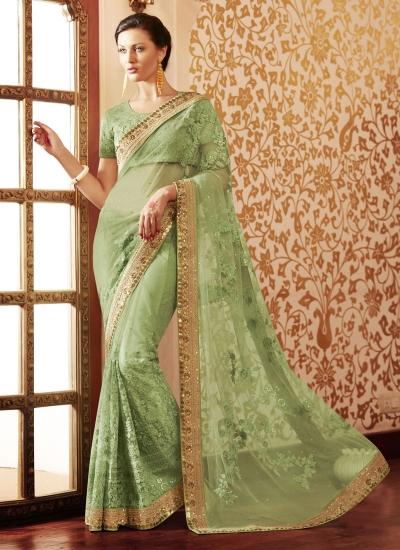 Dazzling Net Green Designer Saree