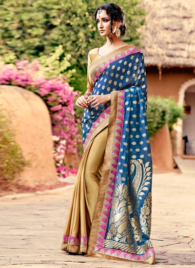 Vivacious Satin Patch Border Work Designer Saree