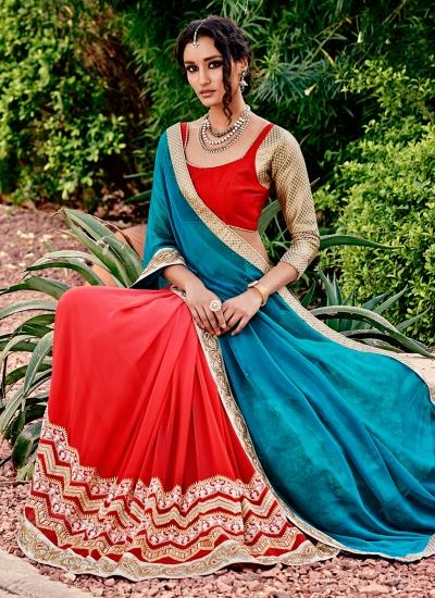 Trendy Red Embroidered Work Georgette Designer Saree