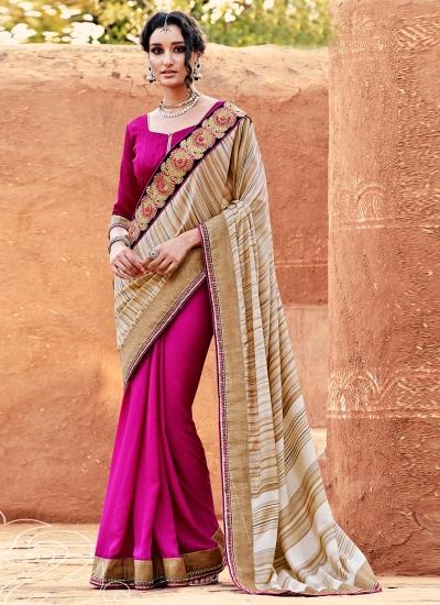 Preferable Hot Pink Designer Saree