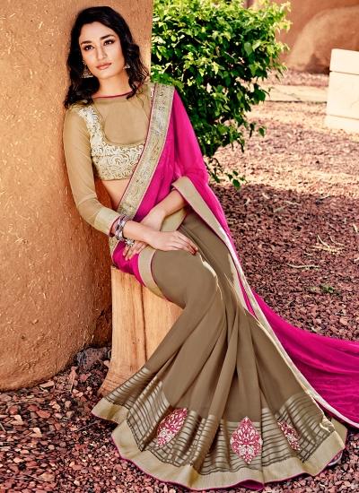 Girlish Satin Beige and Hot Pink Designer Saree