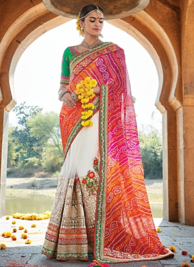 Dignified Multi Color Jaipuri Chiffon Saree