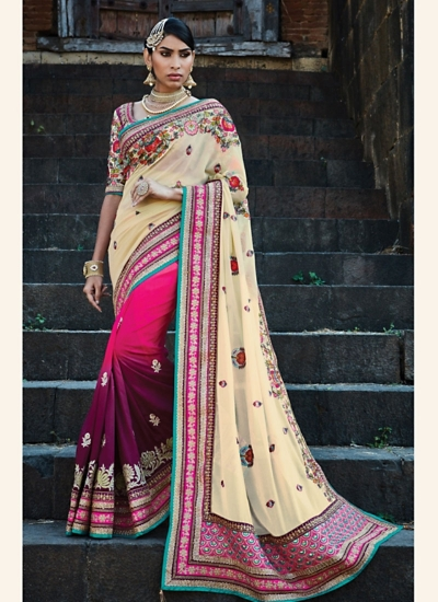 Sophisticated Multi Color Pure Georgette Saree