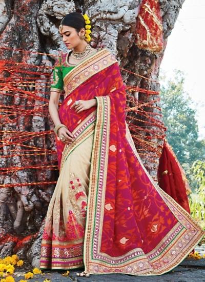 Vivid Violet Jacquard Handloom Silk Saree
