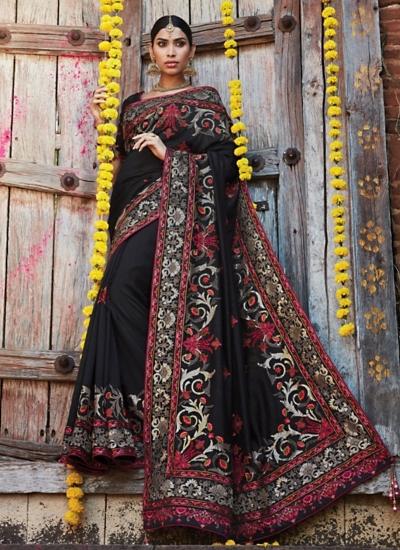 Whimsical Black Pure Soft Silk Saree