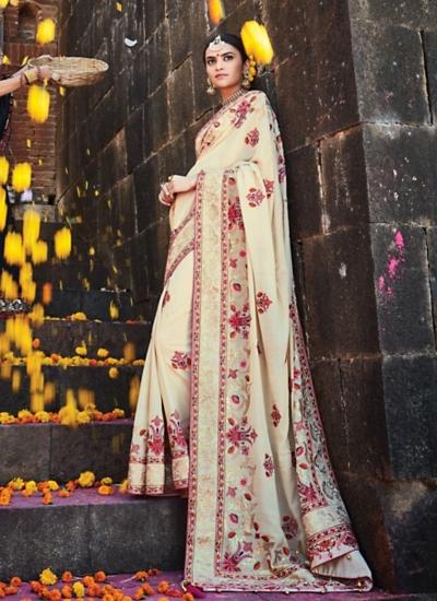 Stunning Off White Pure Soft Silk Saree
