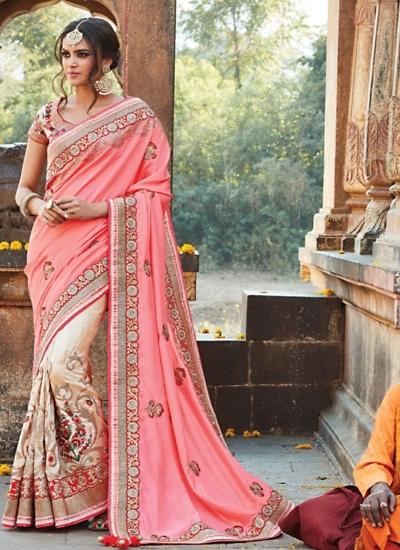 Observable Light Pink Pure Soft Silk Saree